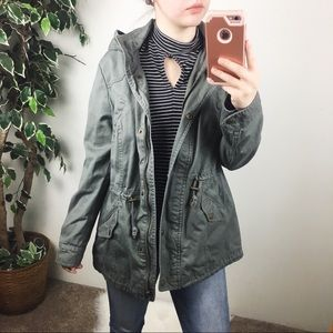 Style & Co military style green jacket
